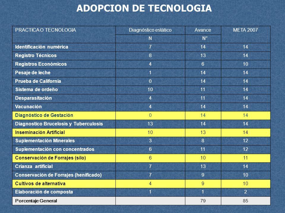 ADOPCION DE TECNOLOGIA PRACTICA O TECNOLOGIADiagnóstico estáticoAvanceMETA 2007 N N° Identificación numérica714 Registro Técnicos81314 Registros Econó