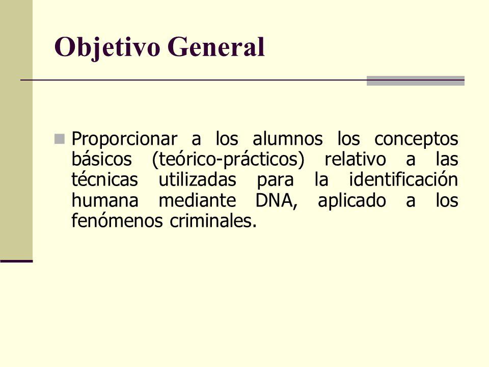 Objetivo General Proporcionar a los alumnos los conceptos básicos (teórico-prácticos) relativo a las técnicas utilizadas para la identificación humana