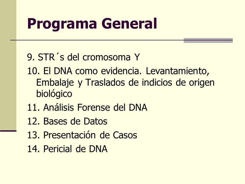 Programa General 9. STR´s del cromosoma Y 10. El DNA como evidencia. Levantamiento, Embalaje y Traslados de indicios de origen biológico 11. Análisis