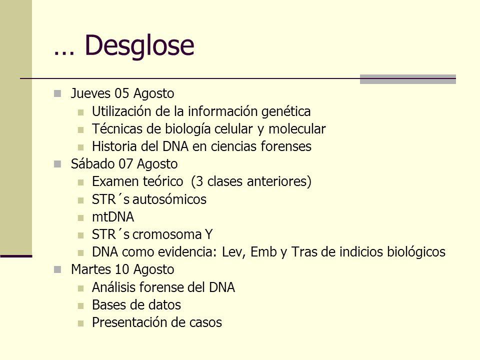 … Desglose Jueves 05 Agosto Utilización de la información genética Técnicas de biología celular y molecular Historia del DNA en ciencias forenses Sába