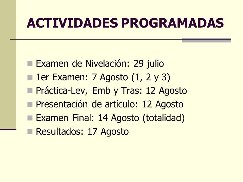 ACTIVIDADES PROGRAMADAS Examen de Nivelación: 29 julio 1er Examen: 7 Agosto (1, 2 y 3) Práctica-Lev, Emb y Tras: 12 Agosto Presentación de artículo: 1
