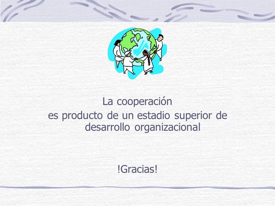 La cooperación es producto de un estadio superior de desarrollo organizacional !Gracias!