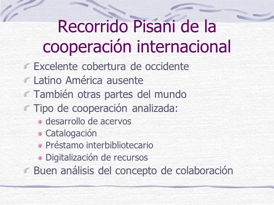 Recorrido Pisani de la cooperación internacional Excelente cobertura de occidente Latino América ausente También otras partes del mundo Tipo de cooper