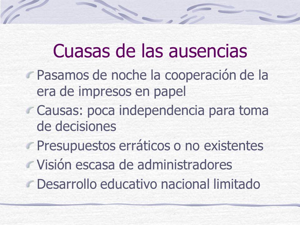 Participación mexicana en consorcios internacionales Bibliotecas líderes se integran a redes internacionales Básicamente a OCLC Objetivos: catalogación y algunos servicios Pininos en integración de clubes de compradores Cooperación transfronteriza con EUA en algunos servicios