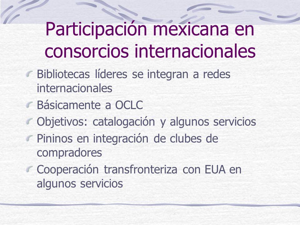 Participación mexicana en consorcios internacionales Bibliotecas líderes se integran a redes internacionales Básicamente a OCLC Objetivos: catalogació