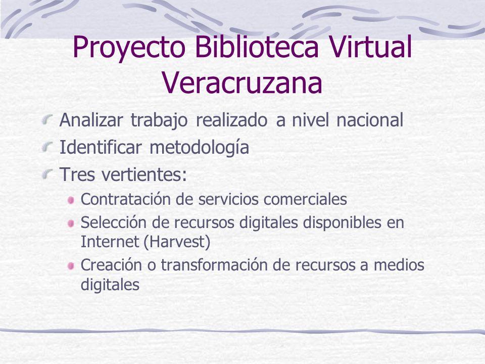 Proyecto Biblioteca Virtual Veracruzana Analizar trabajo realizado a nivel nacional Identificar metodología Tres vertientes: Contratación de servicios