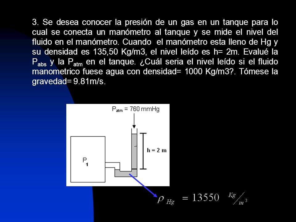 3. Se desea conocer la presión de un gas en un tanque para lo cual se conecta un manómetro al tanque y se mide el nivel del fluido en el manómetro. Cu