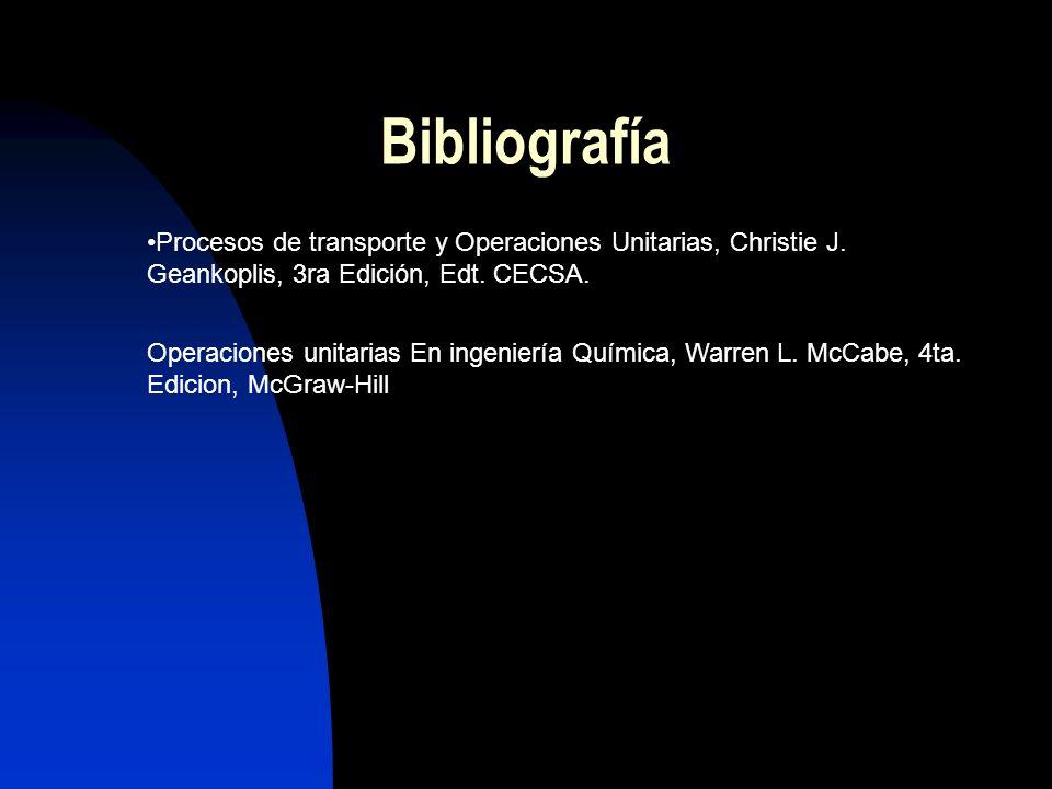 Bibliografía Procesos de transporte y Operaciones Unitarias, Christie J. Geankoplis, 3ra Edición, Edt. CECSA. Operaciones unitarias En ingeniería Quím