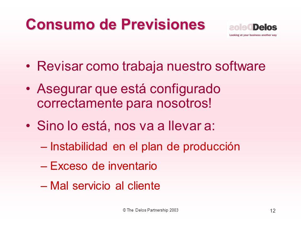 12 © The Delos Partnership 2003 Consumo de Previsiones Revisar como trabaja nuestro software Asegurar que está configurado correctamente para nosotros