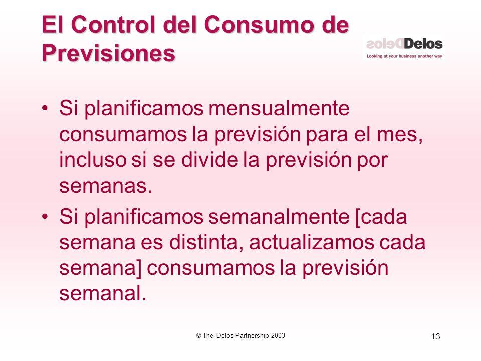 13 © The Delos Partnership 2003 El Control del Consumo de Previsiones Si planificamos mensualmente consumamos la previsión para el mes, incluso si se