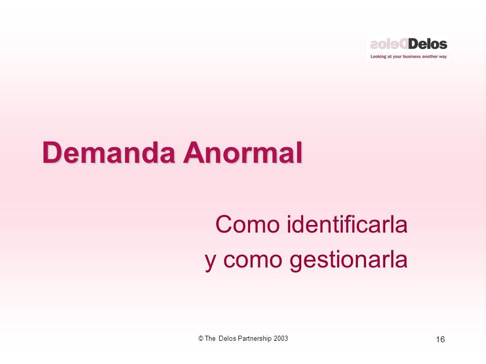 16 © The Delos Partnership 2003 Demanda Anormal Como identificarla y como gestionarla