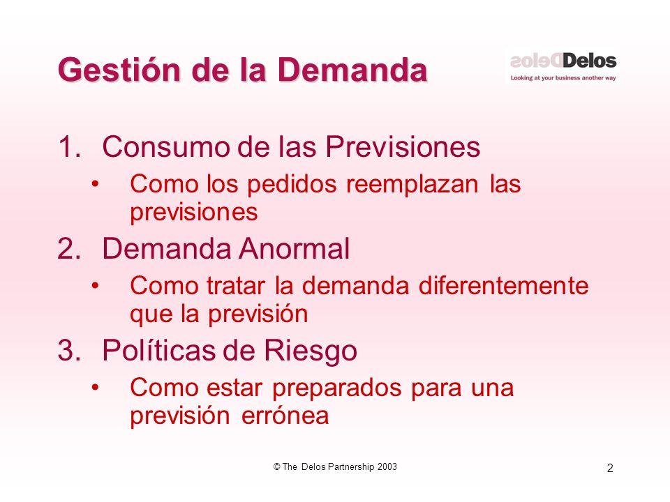 2 © The Delos Partnership 2003 Gestión de la Demanda 1.Consumo de las Previsiones Como los pedidos reemplazan las previsiones 2.Demanda Anormal Como t