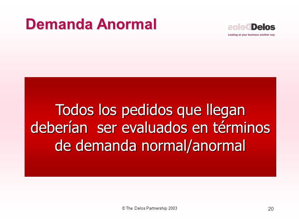20 © The Delos Partnership 2003 Todos los pedidos que llegan deberían ser evaluados en términos de demanda normal/anormal Demanda Anormal