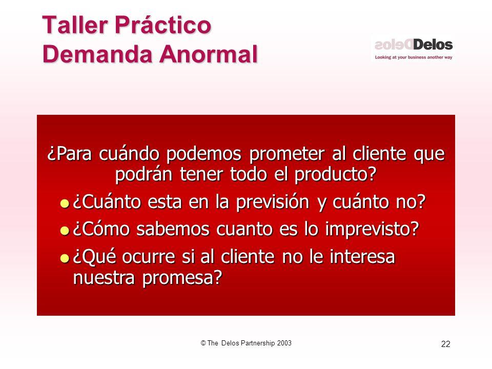 22 © The Delos Partnership 2003 ¿Para cuándo podemos prometer al cliente que podrán tener todo el producto? ¿Cuánto esta en la previsión y cuánto no?
