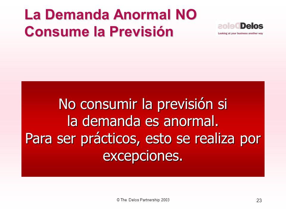 23 © The Delos Partnership 2003 No consumir la previsión si la demanda es anormal. Para ser prácticos, esto se realiza por excepciones. La Demanda Ano