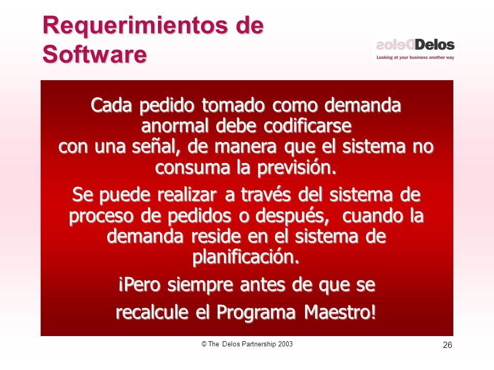 26 © The Delos Partnership 2003 Cada pedido tomado como demanda anormal debe codificarse con una señal, de manera que el sistema no consuma la previsi