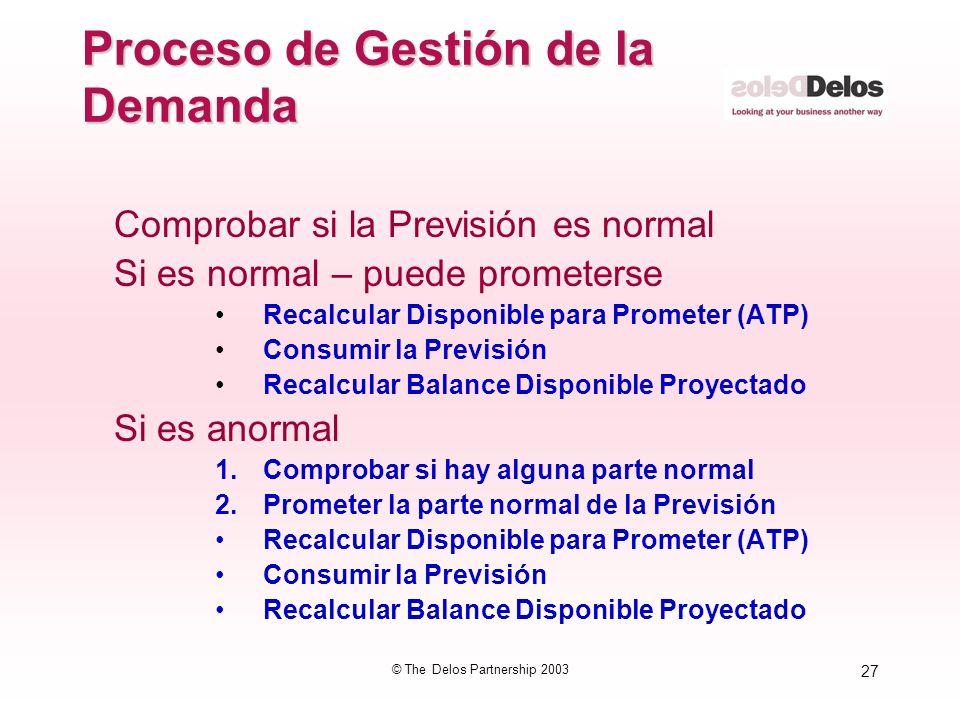 27 © The Delos Partnership 2003 Proceso de Gestión de la Demanda Comprobar si la Previsión es normal Si es normal – puede prometerse Recalcular Dispon