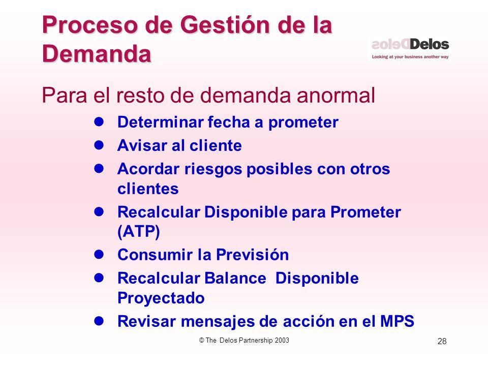 28 © The Delos Partnership 2003 Proceso de Gestión de la Demanda Para el resto de demanda anormal lDeterminar fecha a prometer lAvisar al cliente lAco