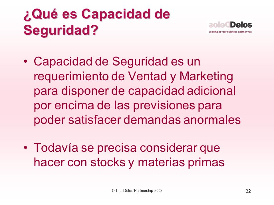 32 © The Delos Partnership 2003 ¿Qué es Capacidad de Seguridad? Capacidad de Seguridad es un requerimiento de Ventad y Marketing para disponer de capa
