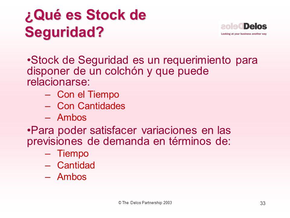 33 © The Delos Partnership 2003 ¿Qué es Stock de Seguridad? Stock de Seguridad es un requerimiento para disponer de un colchón y que puede relacionars