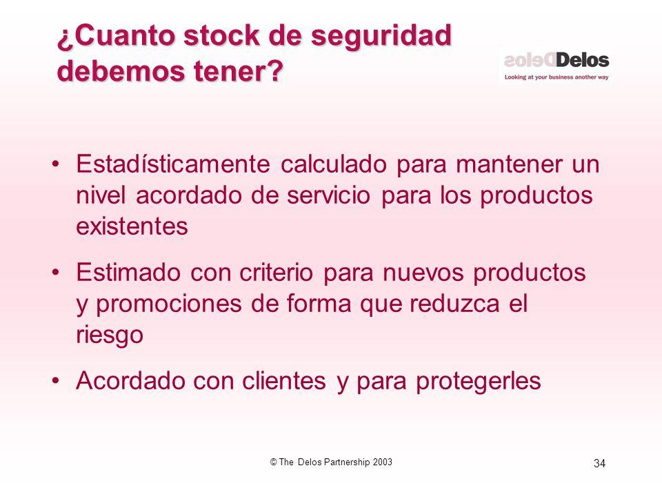 34 © The Delos Partnership 2003 ¿Cuanto stock de seguridad debemos tener? Estadísticamente calculado para mantener un nivel acordado de servicio para