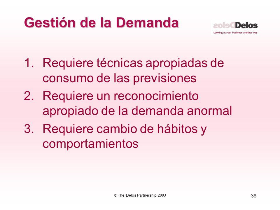 38 © The Delos Partnership 2003 Gestión de la Demanda 1.Requiere técnicas apropiadas de consumo de las previsiones 2.Requiere un reconocimiento apropi