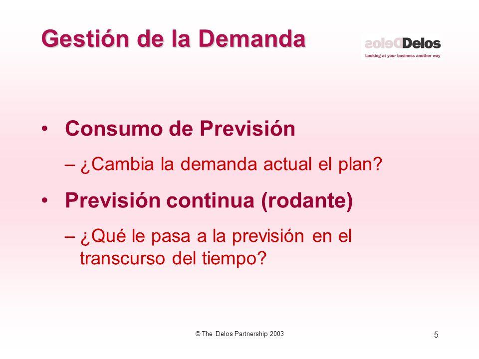 5 © The Delos Partnership 2003 Gestión de la Demanda Consumo de Previsión –¿Cambia la demanda actual el plan? Previsión continua (rodante) –¿Qué le pa