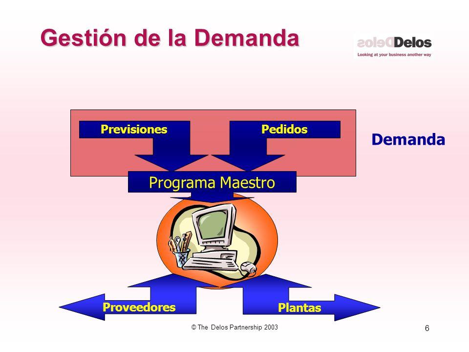6 © The Delos Partnership 2003 Gestión de la Demanda Programa Maestro PrevisionesPedidos Proveedores Plantas Demanda