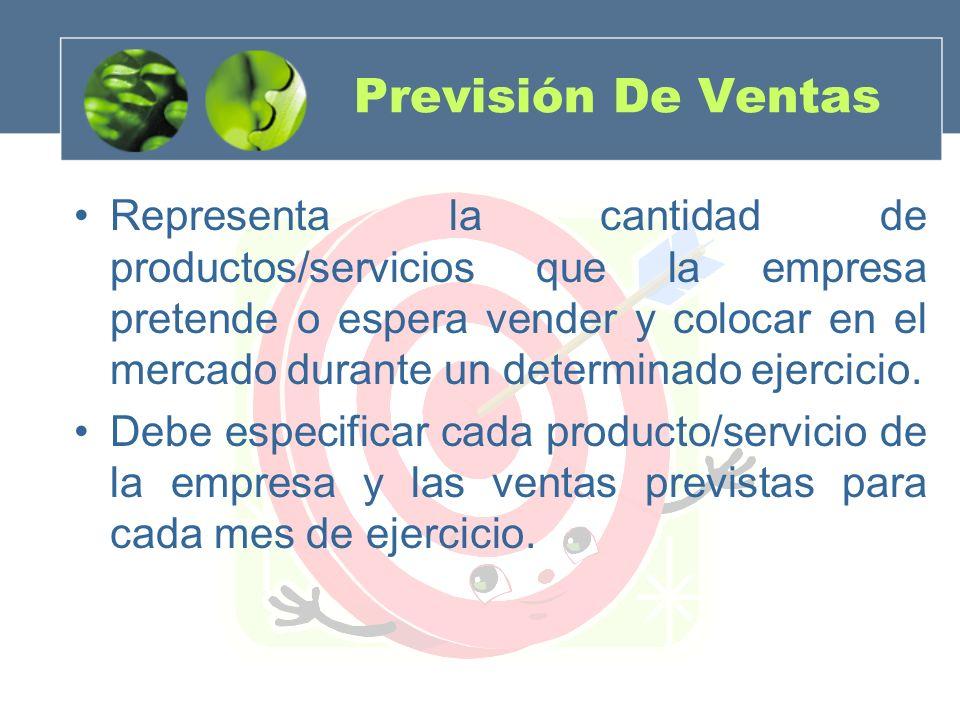 Previsión De Ventas Representa la cantidad de productos/servicios que la empresa pretende o espera vender y colocar en el mercado durante un determina