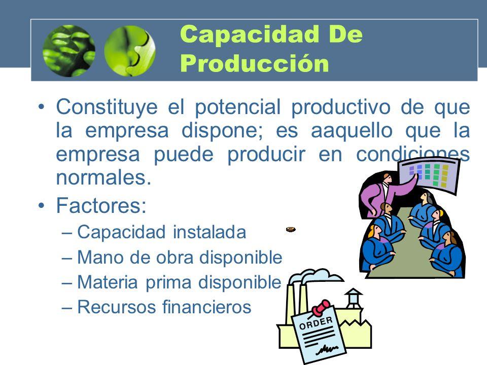 Capacidad De Producción Constituye el potencial productivo de que la empresa dispone; es aaquello que la empresa puede producir en condiciones normale