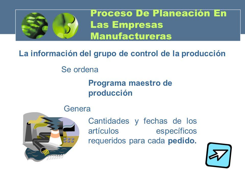 Proceso De Planeación En Las Empresas Manufactureras La información del grupo de control de la producción Se ordena Programa maestro de producción Gen