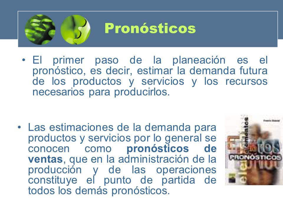 Pronósticos El primer paso de la planeación es el pronóstico, es decir, estimar la demanda futura de los productos y servicios y los recursos necesari