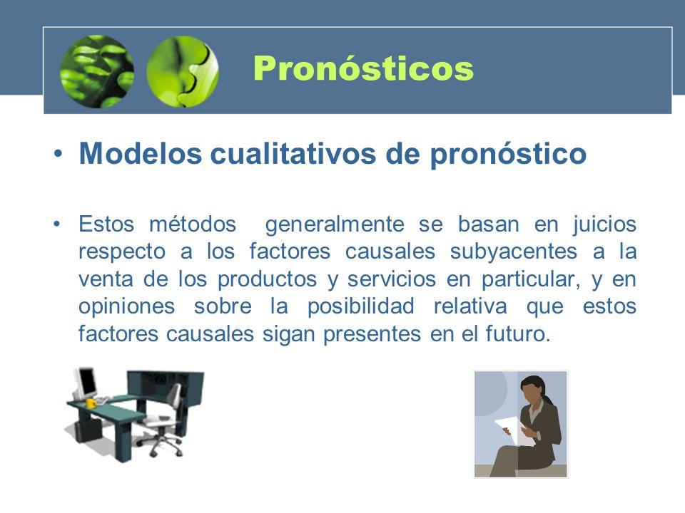 Pronósticos Modelos cualitativos de pronóstico Estos métodos generalmente se basan en juicios respecto a los factores causales subyacentes a la venta