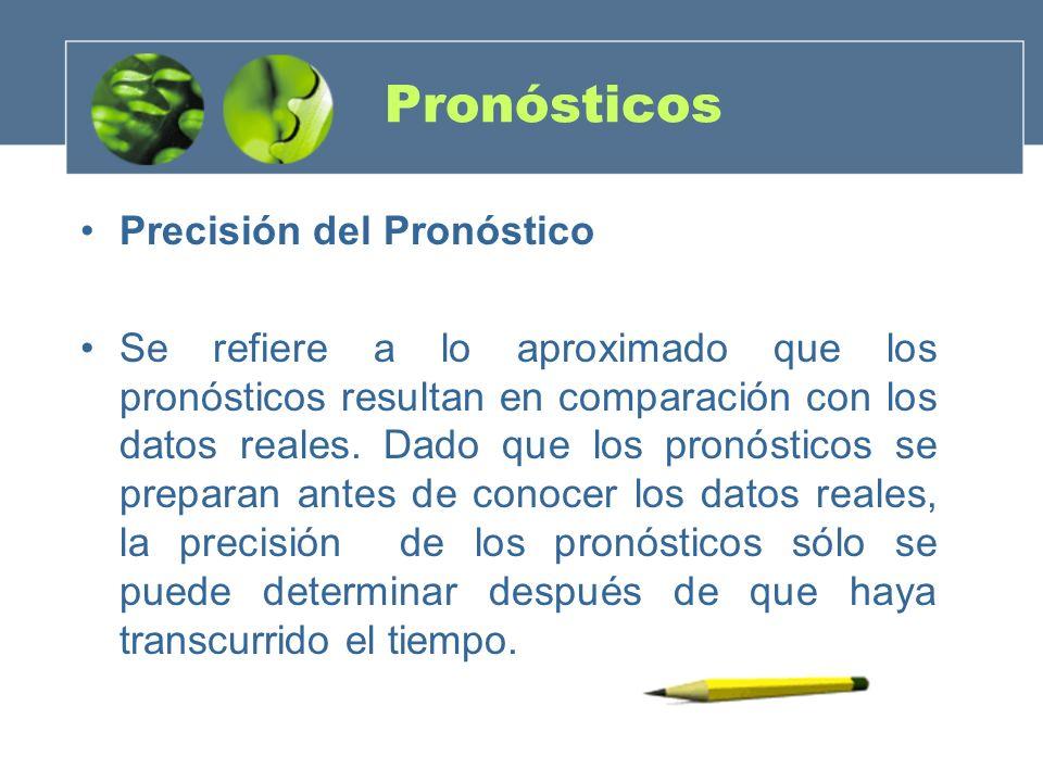 Pronósticos Precisión del Pronóstico Se refiere a lo aproximado que los pronósticos resultan en comparación con los datos reales. Dado que los pronóst