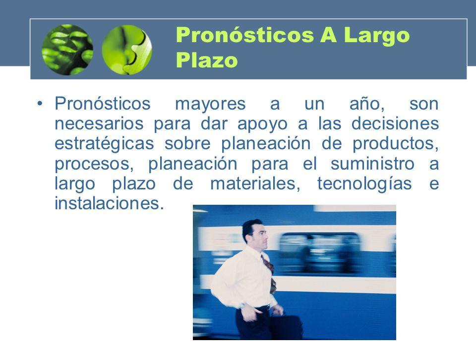 Pronósticos A Largo Plazo Pronósticos mayores a un año, son necesarios para dar apoyo a las decisiones estratégicas sobre planeación de productos, pro
