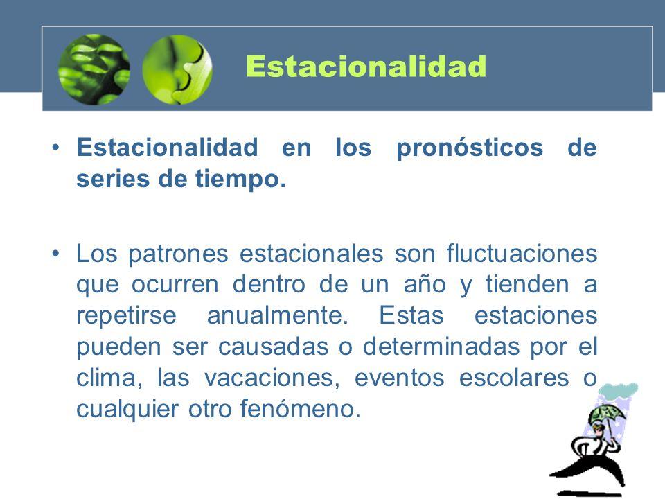 Estacionalidad Estacionalidad en los pronósticos de series de tiempo. Los patrones estacionales son fluctuaciones que ocurren dentro de un año y tiend
