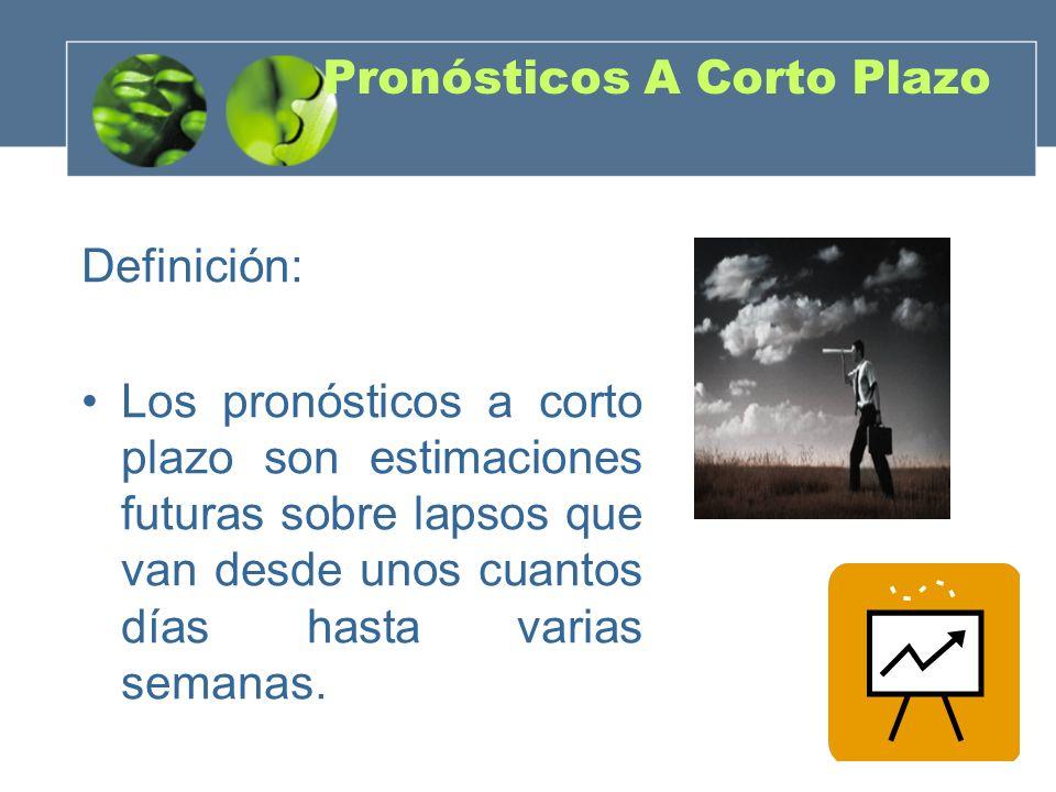 Pronósticos A Corto Plazo Definición: Los pronósticos a corto plazo son estimaciones futuras sobre lapsos que van desde unos cuantos días hasta varias