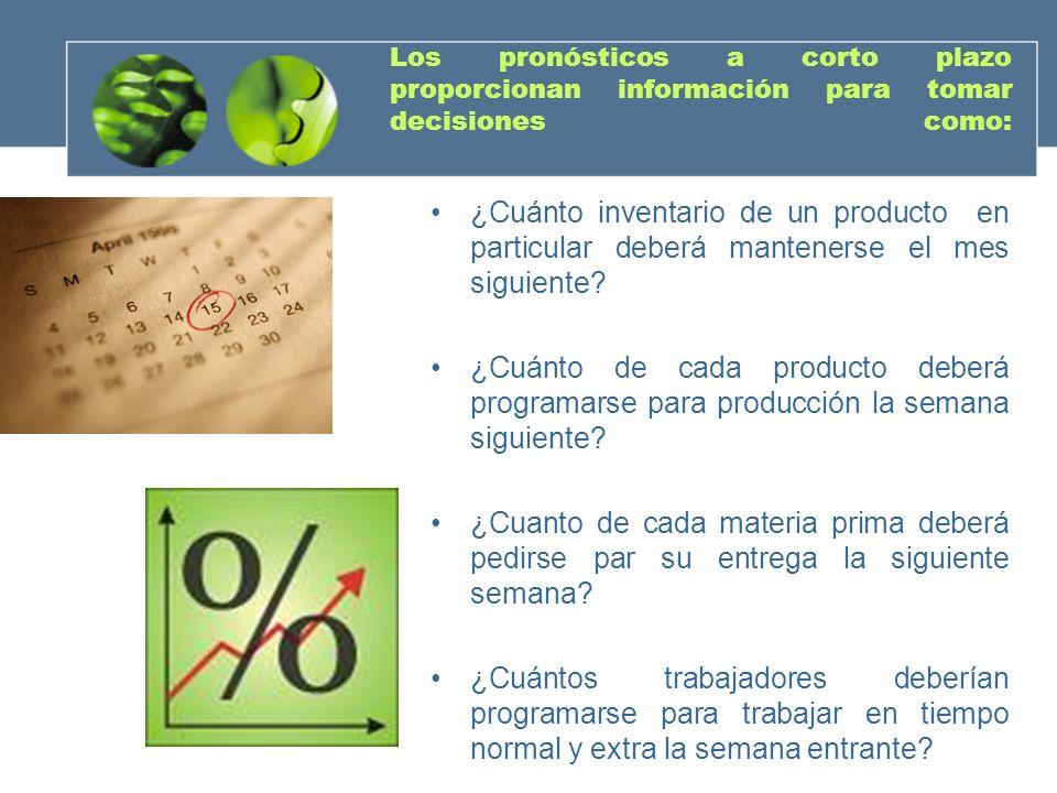 Los pronósticos a corto plazo proporcionan información para tomar decisiones como: ¿Cuánto inventario de un producto en particular deberá mantenerse e