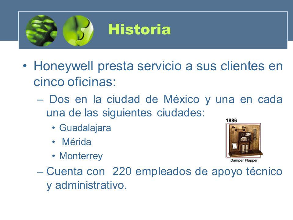 Historia Honeywell presta servicio a sus clientes en cinco oficinas: – Dos en la ciudad de México y una en cada una de las siguientes ciudades: Guadal