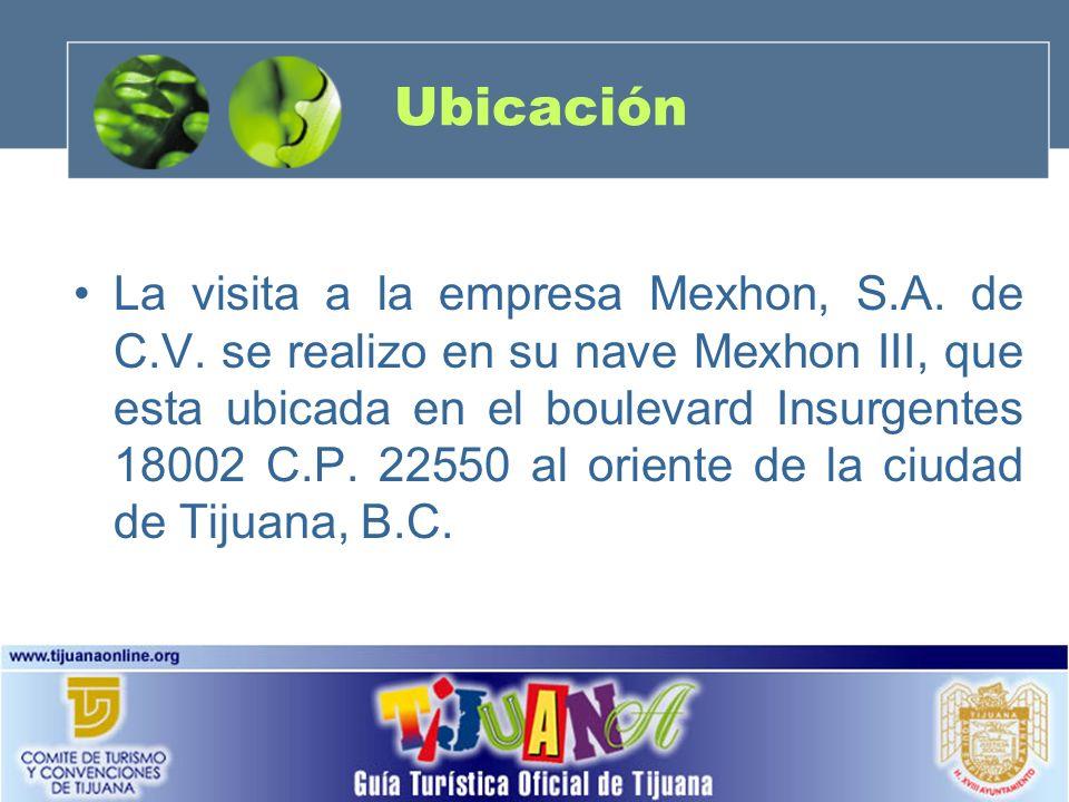 Ubicación La visita a la empresa Mexhon, S.A. de C.V. se realizo en su nave Mexhon III, que esta ubicada en el boulevard Insurgentes 18002 C.P. 22550