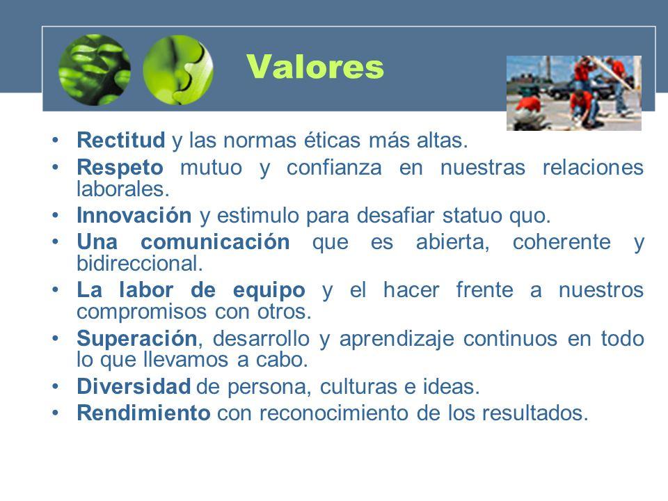 Valores Rectitud y las normas éticas más altas. Respeto mutuo y confianza en nuestras relaciones laborales. Innovación y estimulo para desafiar statuo