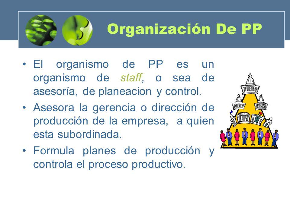 Organización De PP El organismo de PP es un organismo de staff, o sea de asesoría, de planeacion y control. Asesora la gerencia o dirección de producc