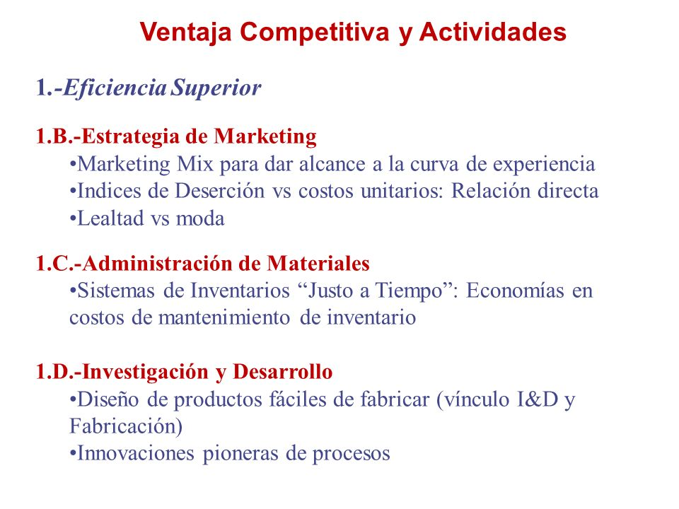 Ventaja Competitiva y Actividades 1.-Eficiencia Superior 1.B.-Estrategia de Marketing Marketing Mix para dar alcance a la curva de experiencia Indices