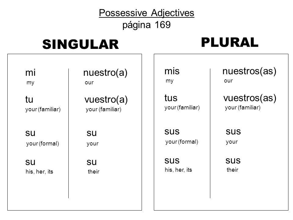 Possessive Adjectives página 169 SINGULAR mi nuestro(a) my our tu vuestro(a) your (familiar) your (familiar) su su your (formal) your su su his, her,