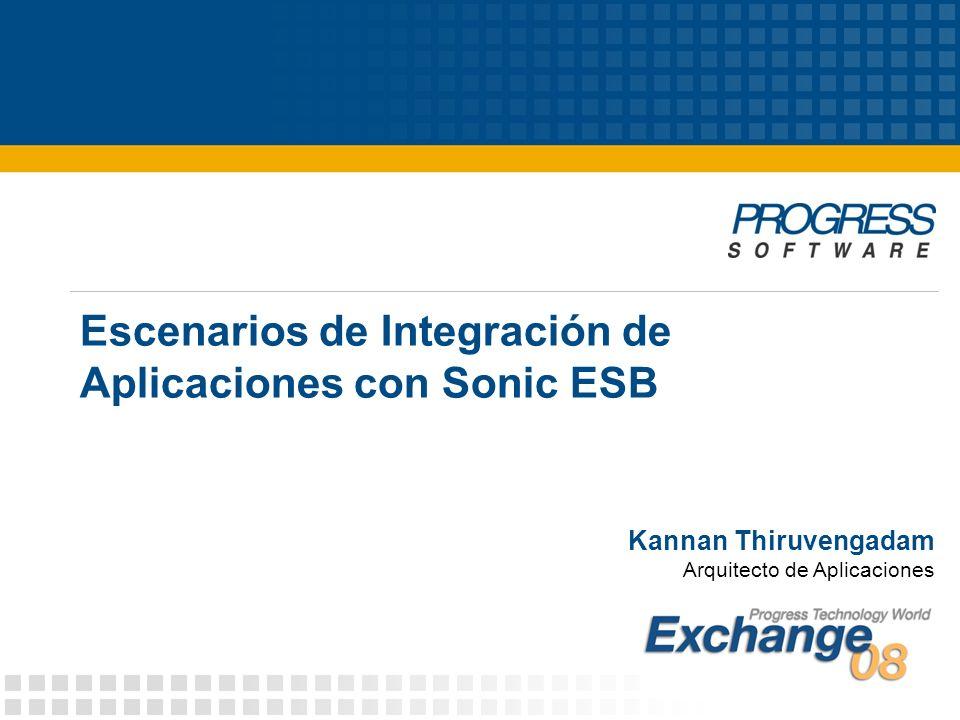 Escenarios de Integración de Aplicaciones con Sonic ESB Kannan Thiruvengadam Arquitecto de Aplicaciones