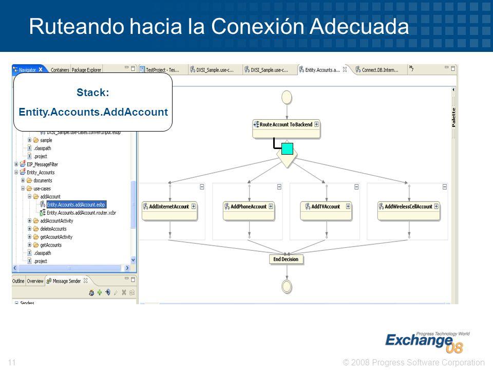 © 2008 Progress Software Corporation11 Ruteando hacia la Conexión Adecuada Stack: Entity.Accounts.AddAccount