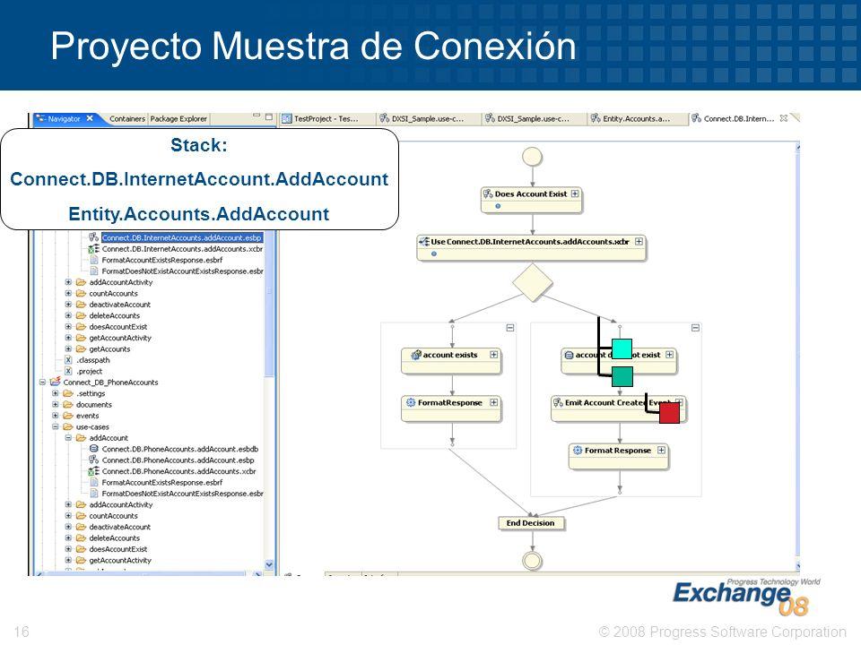 © 2008 Progress Software Corporation16 Proyecto Muestra de Conexión Stack: Connect.DB.InternetAccount.AddAccount Entity.Accounts.AddAccount