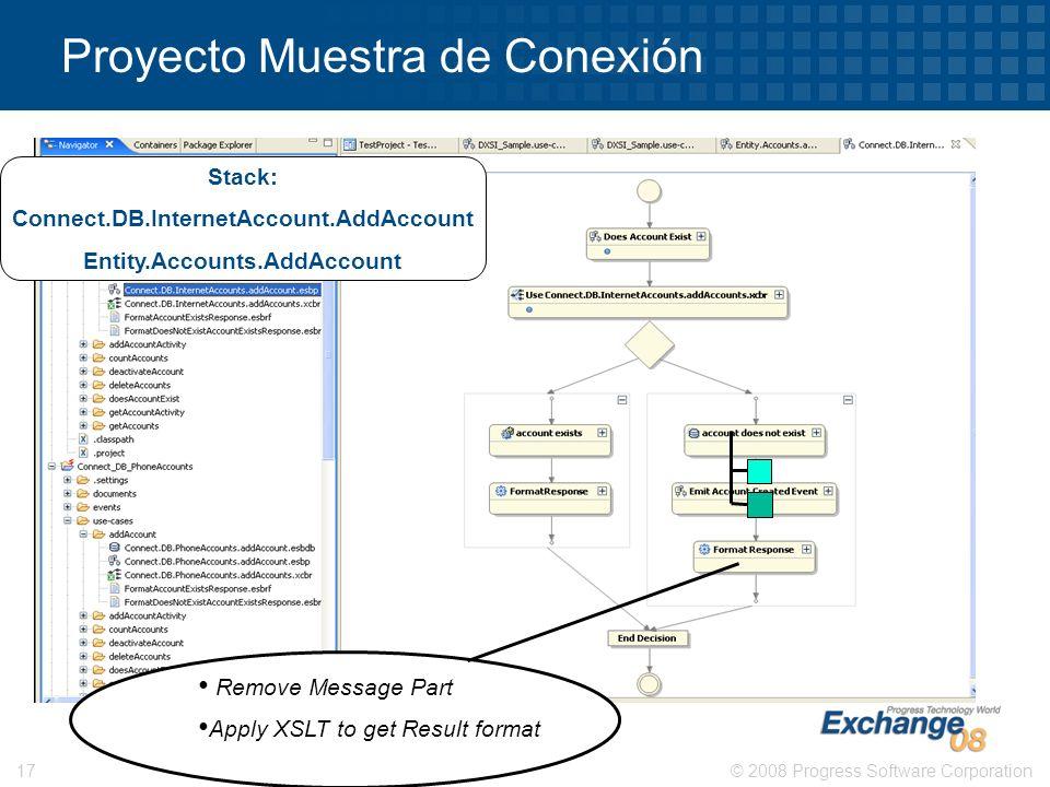 © 2008 Progress Software Corporation17 Proyecto Muestra de Conexión Remove Message Part Apply XSLT to get Result format Stack: Connect.DB.InternetAcco