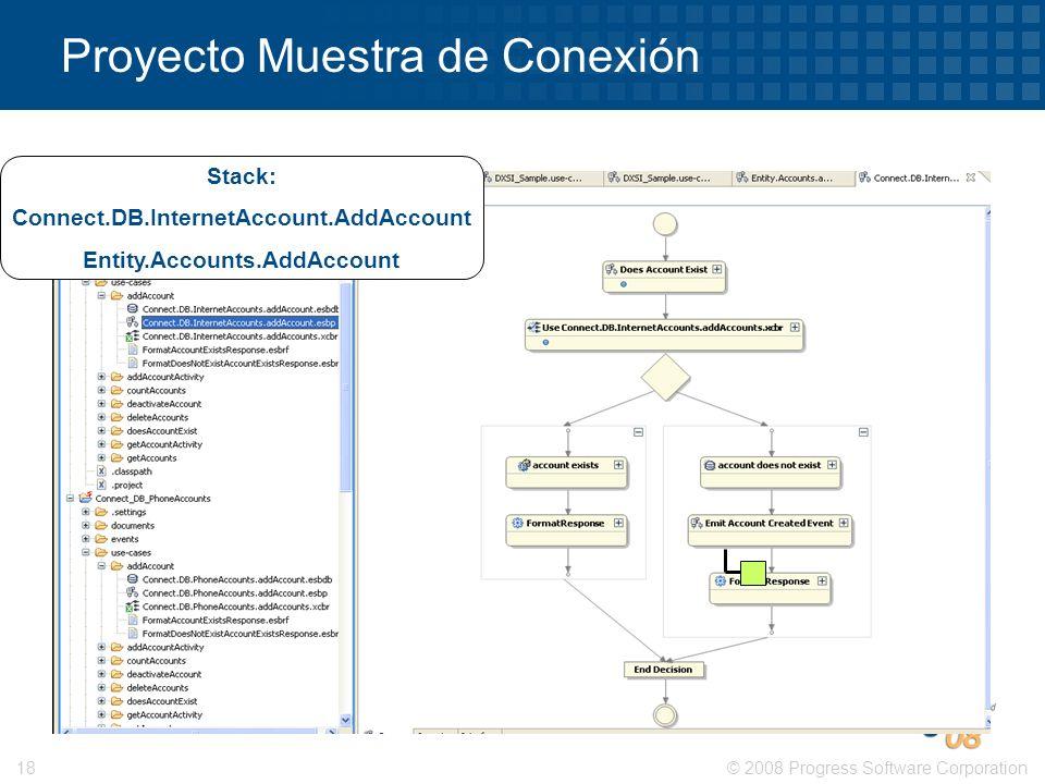 © 2008 Progress Software Corporation18 Proyecto Muestra de Conexión Stack: Connect.DB.InternetAccount.AddAccount Entity.Accounts.AddAccount