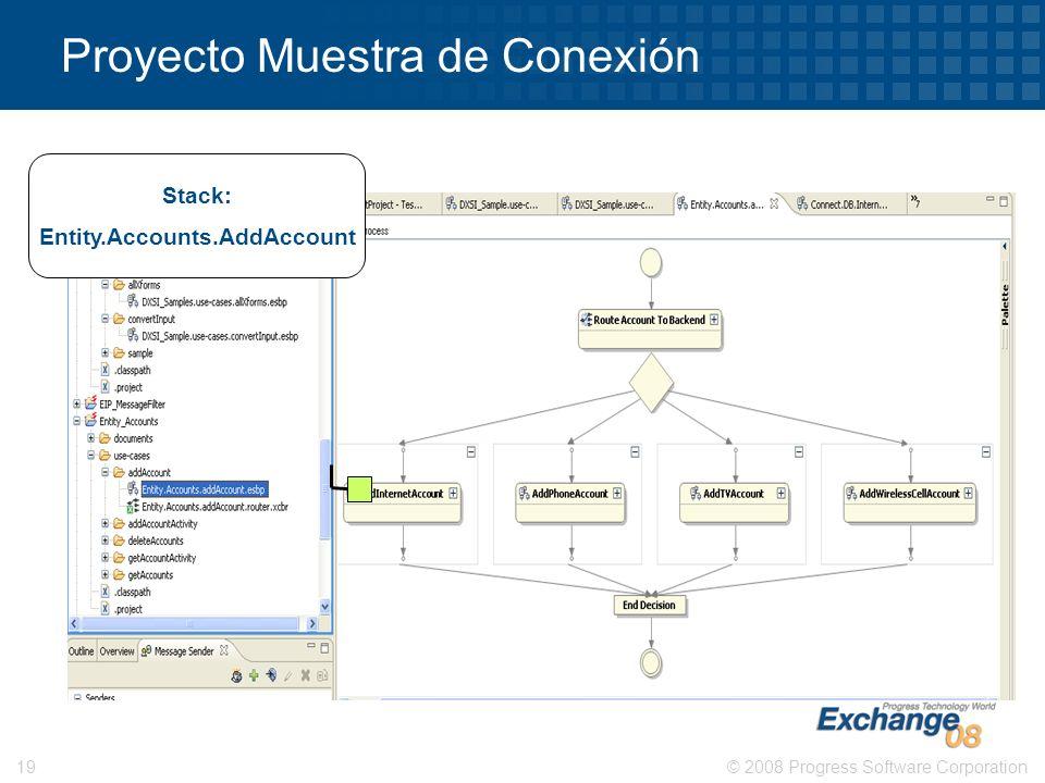 © 2008 Progress Software Corporation19 Proyecto Muestra de Conexión Stack: Entity.Accounts.AddAccount